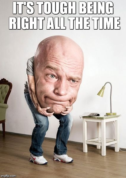 Big Head | IT'S TOUGH BEING RIGHT ALL THE TIME | image tagged in big head | made w/ Imgflip meme maker