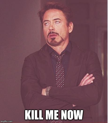 Face You Make Robert Downey Jr Meme | KILL ME NOW | image tagged in memes,face you make robert downey jr | made w/ Imgflip meme maker