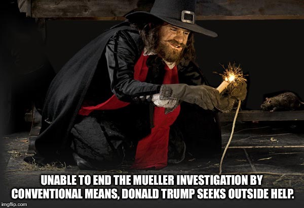 Remember, Remember the Fifth of November | UNABLE TO END THE MUELLER INVESTIGATION BY CONVENTIONAL MEANS, DONALD TRUMP SEEKS OUTSIDE HELP. | image tagged in guy fawkes | made w/ Imgflip meme maker