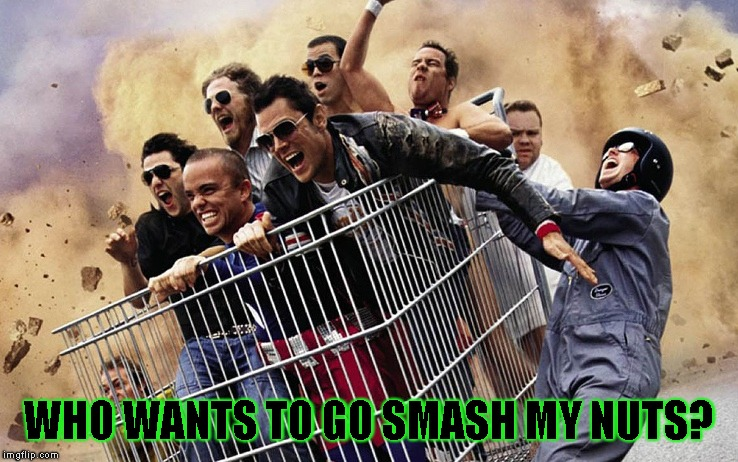 jackass | WHO WANTS TO GO SMASH MY NUTS? | image tagged in jackass | made w/ Imgflip meme maker