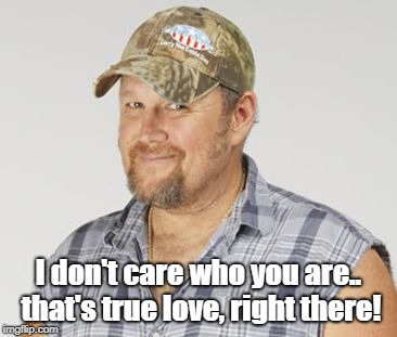 Larry The Cable Guy Meme | I don't care who you are.. that's true love, right there! | image tagged in memes,larry the cable guy | made w/ Imgflip meme maker