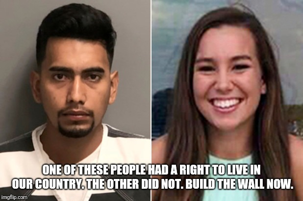 Build it now! | ONE OF THESE PEOPLE HAD A RIGHT TO LIVE IN OUR COUNTRY. THE OTHER DID NOT. BUILD THE WALL NOW. | image tagged in mollie tibbetts,build the wall | made w/ Imgflip meme maker