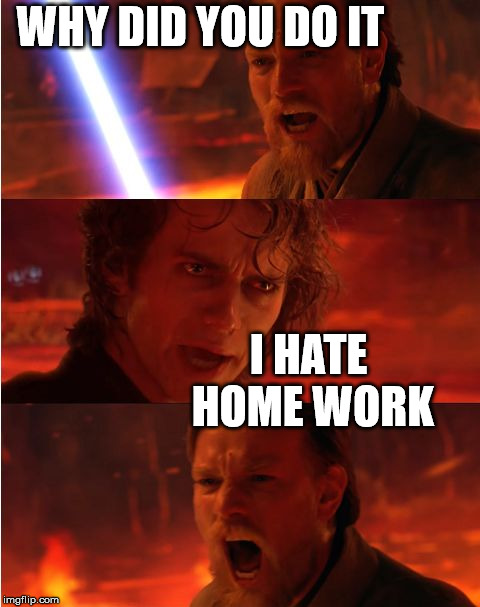 Lost anakin | WHY DID YOU DO IT I HATE HOME WORK | image tagged in lost anakin | made w/ Imgflip meme maker