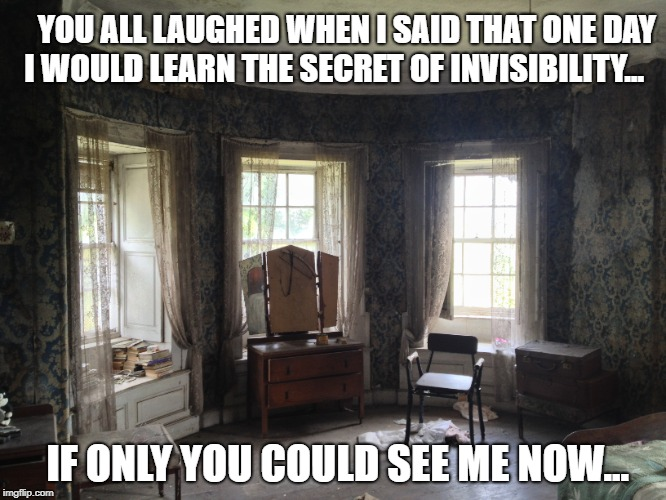 YOU ALL LAUGHED WHEN I SAID THAT ONE DAY I WOULD LEARN THE SECRET OF INVISIBILITY... IF ONLY YOU COULD SEE ME NOW... | image tagged in the invisible man | made w/ Imgflip meme maker