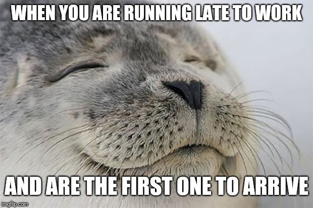 Satisfied Seal Meme | WHEN YOU ARE RUNNING LATE TO WORK AND ARE THE FIRST ONE TO ARRIVE | image tagged in memes,satisfied seal,AdviceAnimals | made w/ Imgflip meme maker