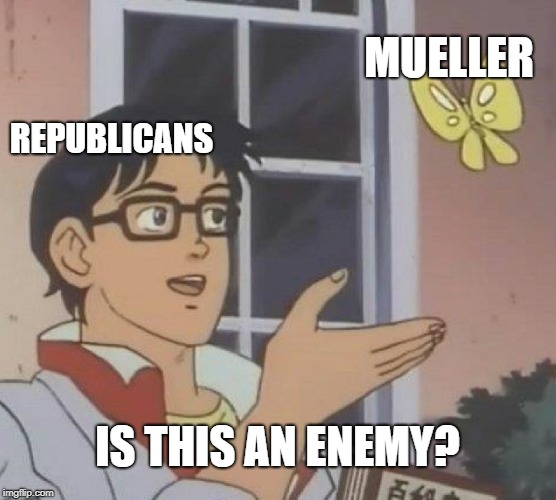 Is This A Pigeon Meme | REPUBLICANS MUELLER IS THIS AN ENEMY? | image tagged in memes,is this a pigeon | made w/ Imgflip meme maker