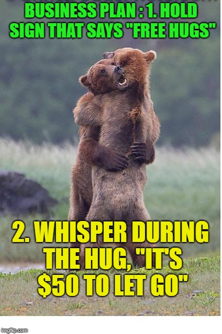 "Free hugs ? ? ? | BUSINESS PLAN : 1. HOLD SIGN THAT SAYS ""FREE HUGS"" 2. WHISPER DURING THE HUG, ""IT'S $50 TO LET GO"" 