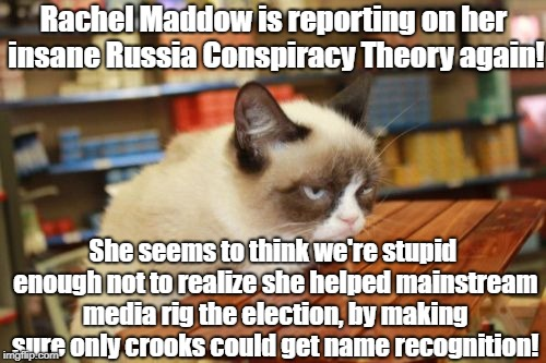 Grumpy Cat Table |  Rachel Maddow is reporting on her insane Russia Conspiracy Theory again! She seems to think we're stupid enough not to realize she helped mainstream media rig the election, by making sure only crooks could get name recognition! | image tagged in memes,grumpy cat table,grumpy cat | made w/ Imgflip meme maker