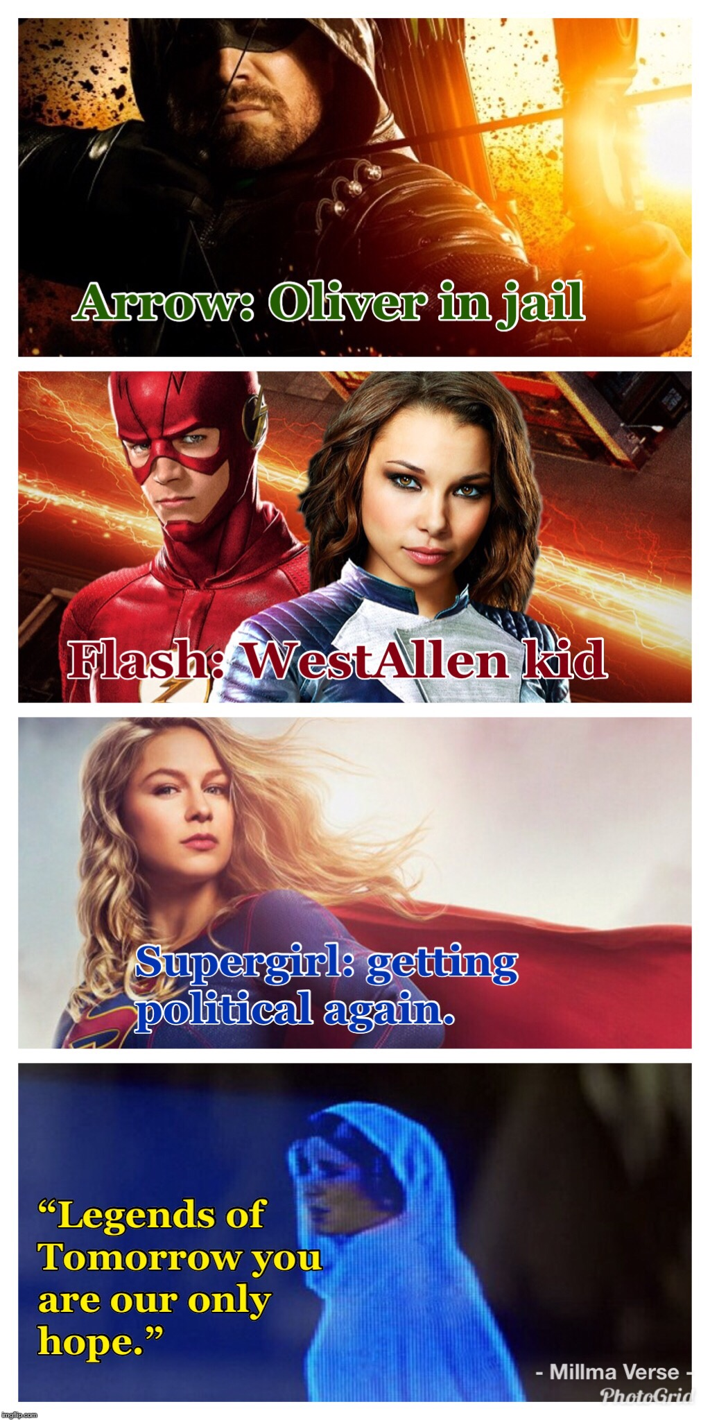 Legends is the One Hope | image tagged in the flash,arrow,legends of tomorrow,supergirl,arrowverse,star wars | made w/ Imgflip meme maker