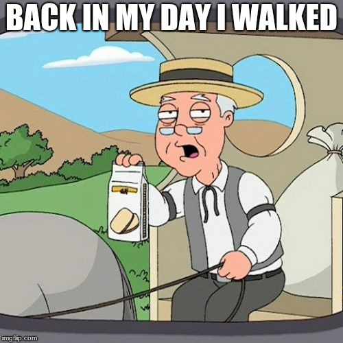 Pepperidge Farm Remembers Meme | BACK IN MY DAY I WALKED | image tagged in memes,pepperidge farm remembers | made w/ Imgflip meme maker