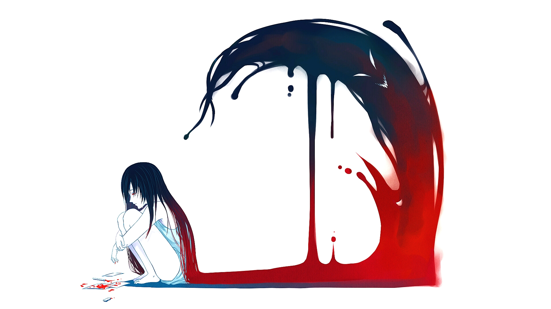 anime girl under wave of blood blank template imgflip