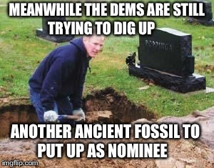 Grave digger | MEANWHILE THE DEMS ARE STILL     TRYING TO DIG UP ANOTHER ANCIENT FOSSIL TO       PUT UP AS NOMINEE | image tagged in grave digger | made w/ Imgflip meme maker