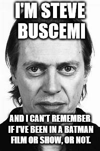 Steve Buscemi | I'M STEVE BUSCEMI AND I CAN'T REMEMBER IF I'VE BEEN IN A BATMAN FILM OR SHOW, OR NOT. | image tagged in steve buscemi | made w/ Imgflip meme maker