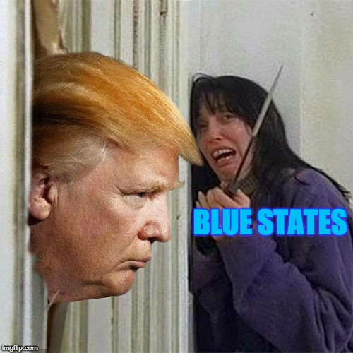 Reaction from Blue States when Trump Visits them | BLUE STATES | image tagged in donald trump here's donny,reaction,memes,politics,election 2016 | made w/ Imgflip meme maker
