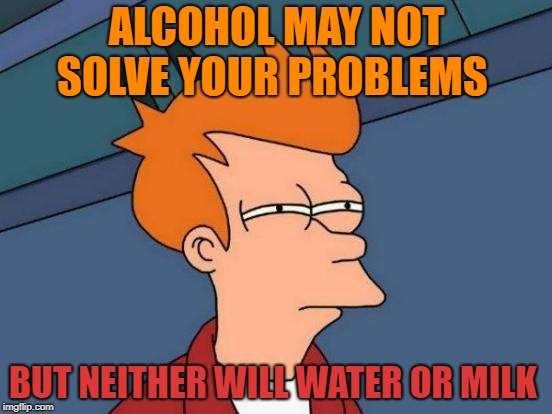 problem solver  | ALCOHOL MAY NOT SOLVE YOUR PROBLEMS BUT NEITHER WILL WATER OR MILK | image tagged in memes,futurama fry | made w/ Imgflip meme maker