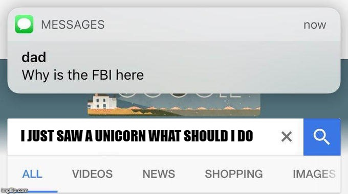 why is the FBI here? | I JUST SAW A UNICORN WHAT SHOULD I DO | image tagged in why is the fbi here | made w/ Imgflip meme maker