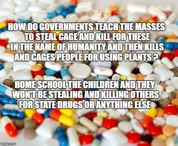pills | HOW DO GOVERNMENTS TEACH THE MASSES TO STEAL CAGE AND KILL FOR THESE IN THE NAME OF HUMANITY AND THEN KILLS AND CAGES PEOPLE FOR USING PLANT | image tagged in pills | made w/ Imgflip meme maker
