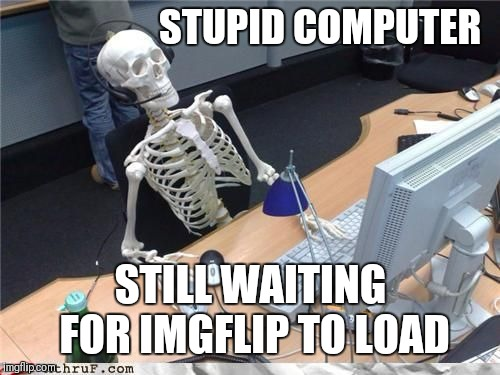 Skeleton Computer | STUPID COMPUTER STILL WAITING FOR IMGFLIP TO LOAD | image tagged in skeleton computer | made w/ Imgflip meme maker