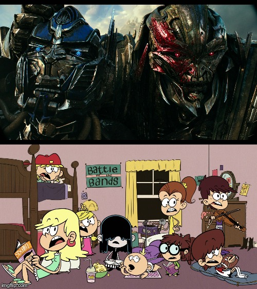 Loud sisters watch Megatron telling off Optimus | image tagged in the loud house,transformers,nickelodeon,movie,sisters | made w/ Imgflip meme maker