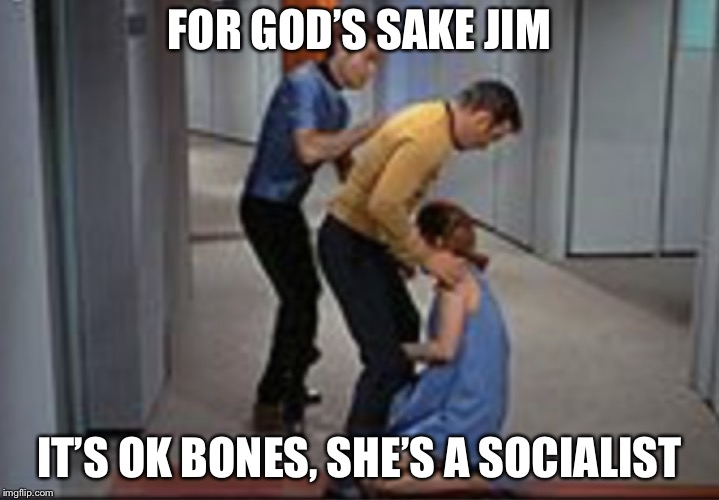 Job promotion | FOR GOD'S SAKE JIM IT'S OK BONES, SHE'S A SOCIALIST | image tagged in job promotion | made w/ Imgflip meme maker