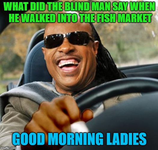 WHAT DID THE BLIND MAN SAY WHEN HE WALKED INTO THE FISH MARKET GOOD MORNING LADIES | made w/ Imgflip meme maker