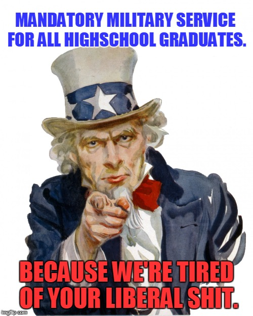 Time To Turn A Generation of Nancies into Real Men |  MANDATORY MILITARY SERVICE FOR ALL HIGHSCHOOL GRADUATES. BECAUSE WE'RE TIRED OF YOUR LIBERAL SHIT. | image tagged in we want you,military service,liberalism,millenials,tide pods | made w/ Imgflip meme maker