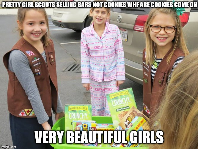 very shitty skinny girls look a little happy selling firkin box of cookies | PRETTY GIRL SCOUTS SELLING BARS NOT COOKIES WHF ARE COOKIES COME ON VERY BEAUTIFUL GIRLS | image tagged in imgflip,pretty girl,girl,beautiful hair,gifs sexy hot pretty beautiful gorgeous | made w/ Imgflip meme maker