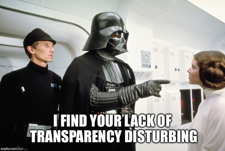 Vader | I FIND YOUR LACK OF TRANSPARENCY DISTURBING | image tagged in vader,AdviceAnimals | made w/ Imgflip meme maker