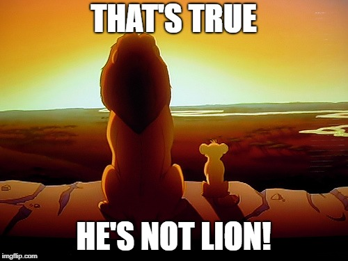 Lion King Meme | THAT'S TRUE HE'S NOT LION! | image tagged in memes,lion king | made w/ Imgflip meme maker
