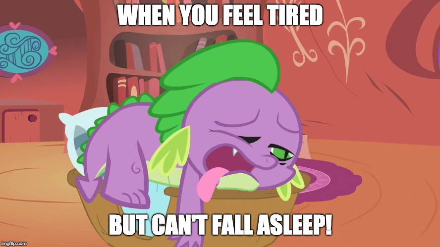 I hate this | WHEN YOU FEEL TIRED BUT CAN'T FALL ASLEEP! | image tagged in exhausted spike,memes,tired,sleep | made w/ Imgflip meme maker