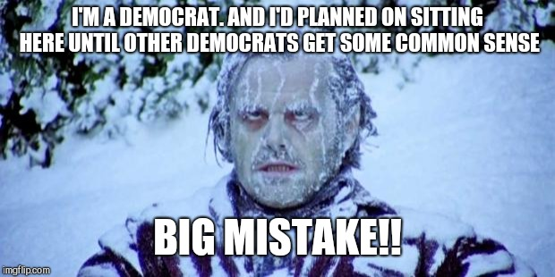 The Shining winter | I'M A DEMOCRAT. AND I'D PLANNED ON SITTING HERE UNTIL OTHER DEMOCRATS GET SOME COMMON SENSE BIG MISTAKE!! | image tagged in the shining winter | made w/ Imgflip meme maker
