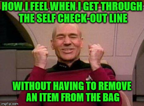 Captain Kirk Yes...Success! | HOW I FEEL WHEN I GET THROUGH THE SELF CHECK-OUT LINE WITHOUT HAVING TO REMOVE AN ITEM FROM THE BAG | image tagged in captain kirk yes,memes,checkout,remove | made w/ Imgflip meme maker