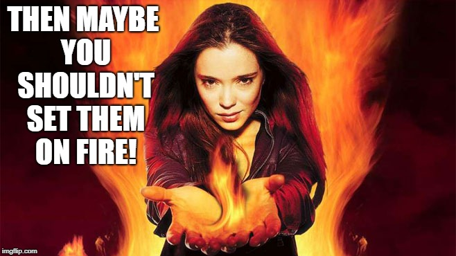 THEN MAYBE YOU SHOULDN'T SET THEM ON FIRE! | made w/ Imgflip meme maker