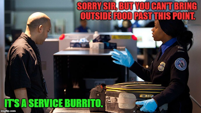 How to Get Food Past Security | SORRY SIR, BUT YOU CAN'T BRING OUTSIDE FOOD PAST THIS POINT. IT'S A SERVICE BURRITO. | image tagged in service animals,ptsd,memes,tsa,security,funny memes | made w/ Imgflip meme maker