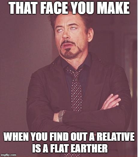 So frustrating... |  THAT FACE YOU MAKE; WHEN YOU FIND OUT A RELATIVE IS A FLAT EARTHER | image tagged in memes,face you make robert downey jr,flat earth,flat earthers,face,relatives | made w/ Imgflip meme maker