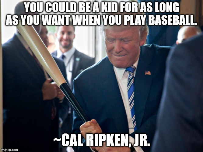 Batter up! | YOU COULD BE A KID FOR AS LONG AS YOU WANT WHEN YOU PLAY BASEBALL. ~CAL RIPKEN, JR. | image tagged in trump,baseball,wisdom,child,kid | made w/ Imgflip meme maker