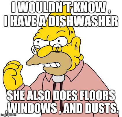 I WOULDN'T KNOW , I HAVE A DISHWASHER SHE ALSO DOES FLOORS ,WINDOWS , AND DUSTS. | made w/ Imgflip meme maker