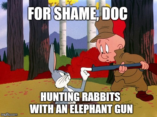 Well, what would you say to a guy who's tryna kill ya? | FOR SHAME, DOC HUNTING RABBITS WITH AN ELEPHANT GUN | image tagged in bugs bunny,elmer fudd,elephant,gun | made w/ Imgflip meme maker