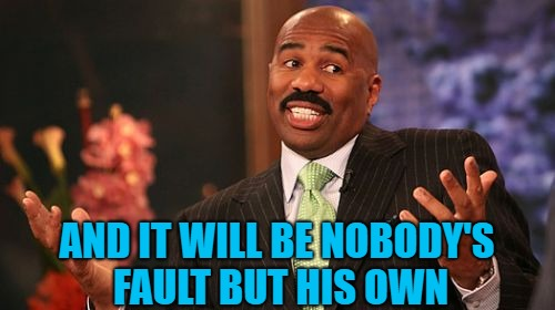 Steve Harvey Meme | AND IT WILL BE NOBODY'S FAULT BUT HIS OWN | image tagged in memes,steve harvey | made w/ Imgflip meme maker