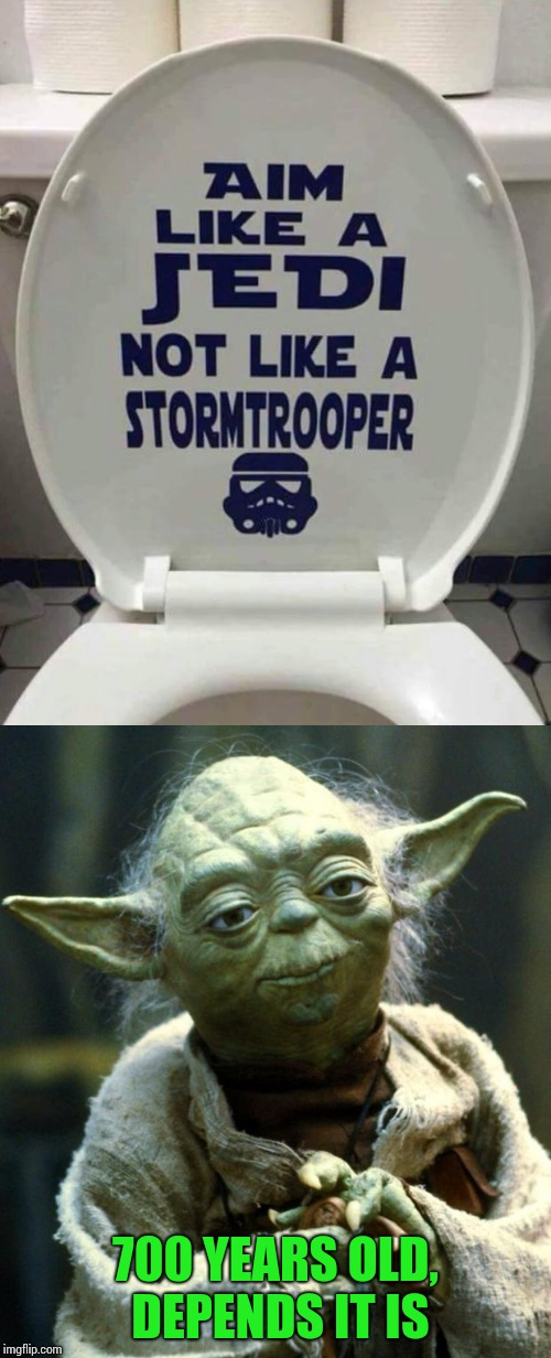 And I thought Yoda went in the woods |  700 YEARS OLD, DEPENDS IT IS | image tagged in yoda,star wars,jedi,pipe_picasso,stormtrooper,toilet | made w/ Imgflip meme maker