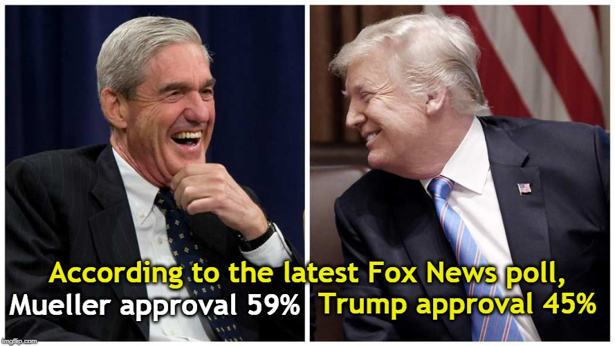 That's not margin of error, folks. | According to the latest Fox News poll, Trump approval 45% Mueller approval 59% | image tagged in fox news,mueller,trump,approval,poll | made w/ Imgflip meme maker