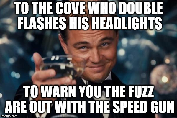 Leonardo Dicaprio Cheers | TO THE COVE WHO DOUBLE FLASHES HIS HEADLIGHTS TO WARN YOU THE FUZZ ARE OUT WITH THE SPEED GUN | image tagged in memes,leonardo dicaprio cheers | made w/ Imgflip meme maker
