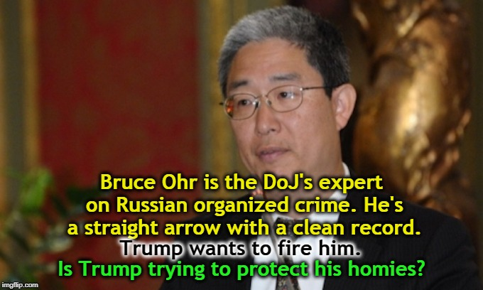 Something about honest cops really spooks Donald. | Bruce Ohr is the DoJ's expert on Russian organized crime. He's a straight arrow with a clean record. Is Trump trying to protect his homies?  | image tagged in bruce ohr,doj,organized crime,trump,russia | made w/ Imgflip meme maker