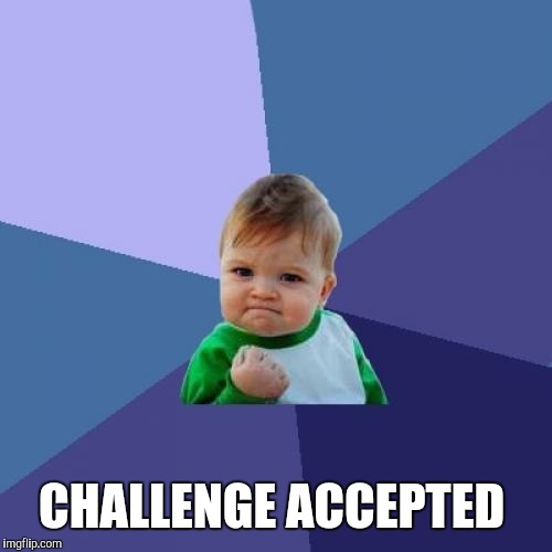 Success Kid Meme | CHALLENGE ACCEPTED | image tagged in memes,success kid | made w/ Imgflip meme maker
