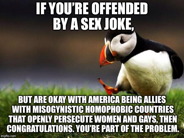 Sex jokes are not something to be offended by | IF YOU'RE OFFENDED BY A SEX JOKE, BUT ARE OKAY WITH AMERICA BEING ALLIES WITH MISOGYNISTIC HOMOPHOBIC COUNTRIES THAT OPENLY PERSECUTE WOMEN  | image tagged in memes,unpopular opinion puffin,sex,gay rights,hypocrisy,women rights | made w/ Imgflip meme maker