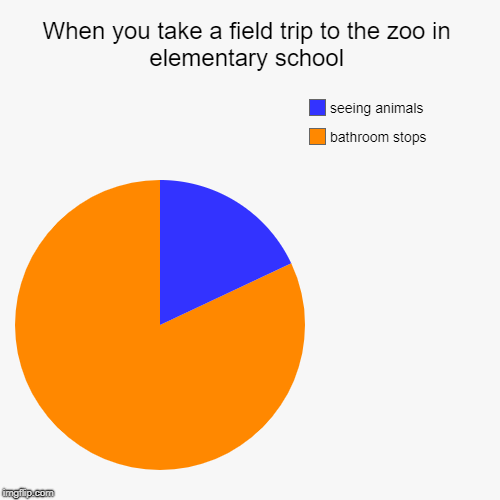 When you take a field trip to the zoo in elementary school | bathroom stops, seeing animals | image tagged in funny,pie charts | made w/ Imgflip chart maker