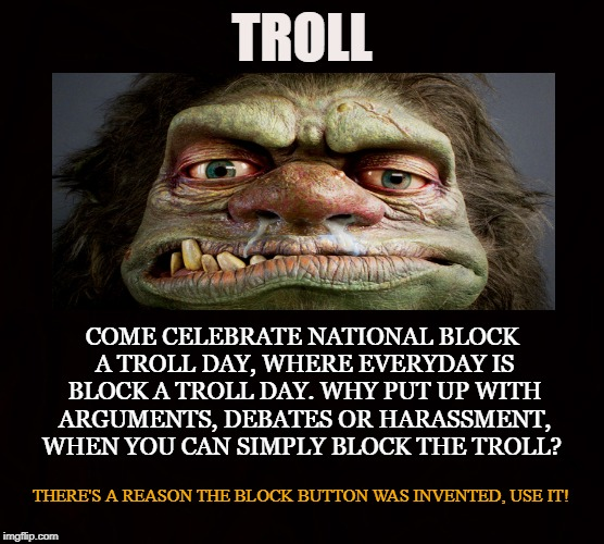 National Block A Troll Day | TROLL COME CELEBRATE NATIONAL BLOCK A TROLL DAY, WHERE EVERYDAY IS BLOCK A TROLL DAY. WHY PUT UP WITH ARGUMENTS, DEBATES OR HARASSMENT, WHEN | image tagged in troll,flame,arguments,harassment,enemies,disruptions | made w/ Imgflip meme maker