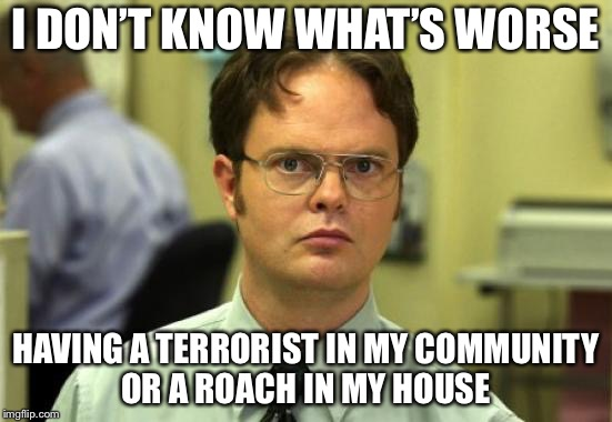 I'd rather have Terrorists than roaches cuz lol | I DON'T KNOW WHAT'S WORSE HAVING A TERRORIST IN MY COMMUNITY OR A ROACH IN MY HOUSE | image tagged in memes,dwight schrute,terrorists,cockroach,roach,idk | made w/ Imgflip meme maker