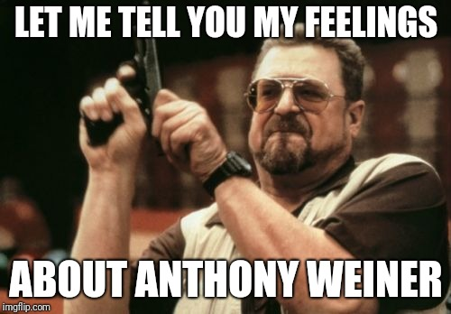 Am I The Only One Around Here Meme | LET ME TELL YOU MY FEELINGS ABOUT ANTHONY WEINER | image tagged in memes,am i the only one around here | made w/ Imgflip meme maker