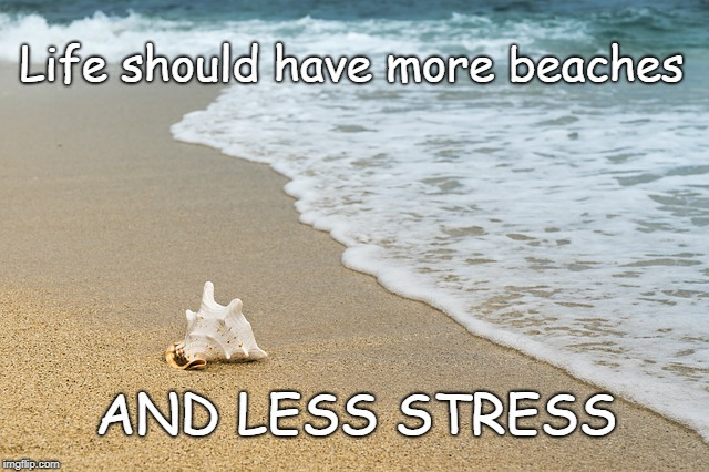 More Beach Less Stress | Life should have more beaches AND LESS STRESS | image tagged in day at the beach,beach,stressed out,relaxing,relax,life | made w/ Imgflip meme maker